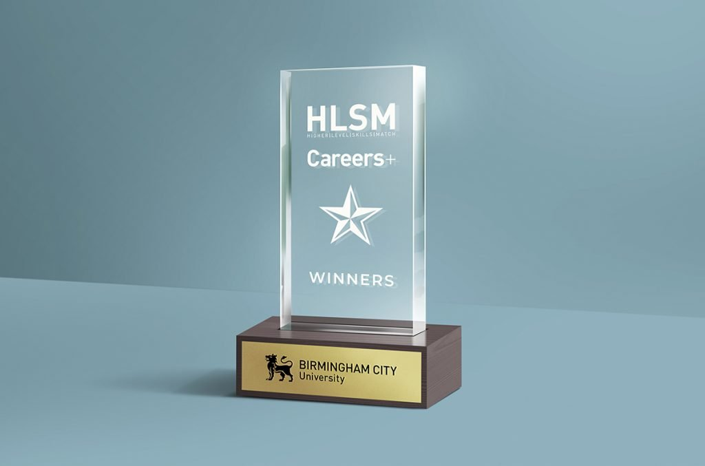 Graphic of an awards trophy for HLSM and Careers+