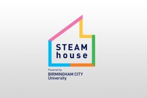 Image of STEAMhouse logo on a gradient background