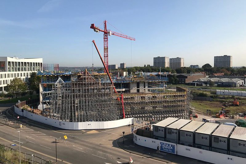 Image of construction work taking place for the second phase of STEAMhouse, Birmingham City University's centre for collaborative innovation