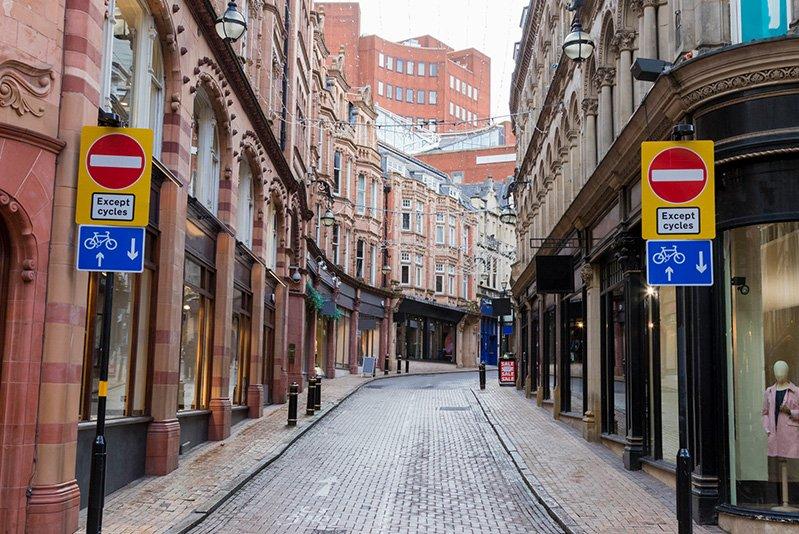 Photo of empty city centre street in Birmingham