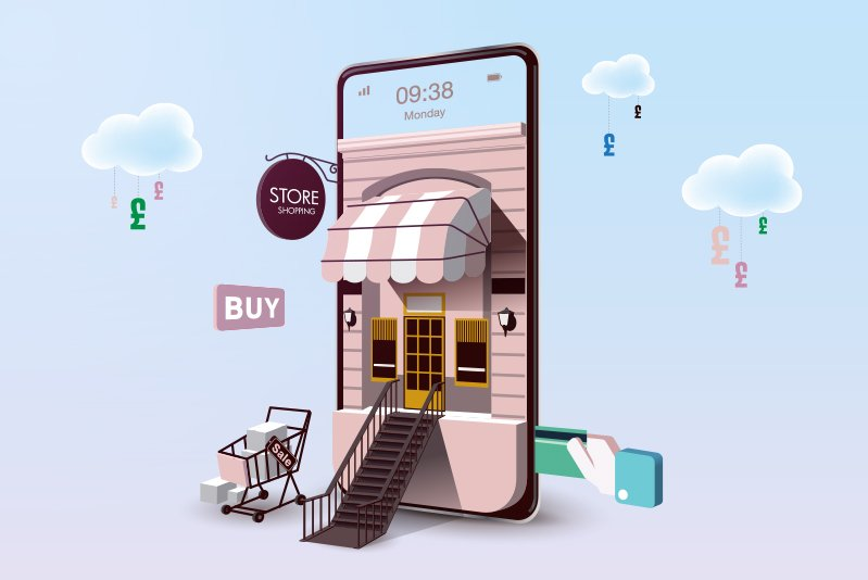 Vector graphic of a mobile phone recreated as a store front