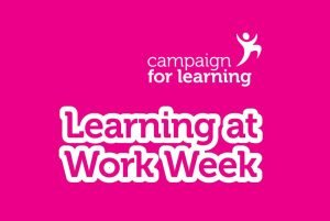 Graphic with pink background with Campaign for Learning logo with text underneath that reads Learning at Work Week