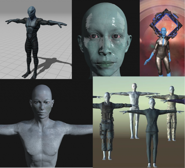 Photo of multiple 3D generated characters